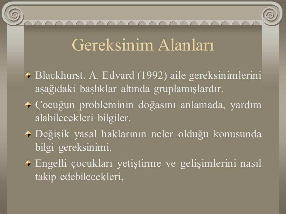 Gereksinim Alanları Blackhurst, A. Edvard (1992) aile gereksinimlerini aşağıdaki başlıklar altında gruplamışlardır.
