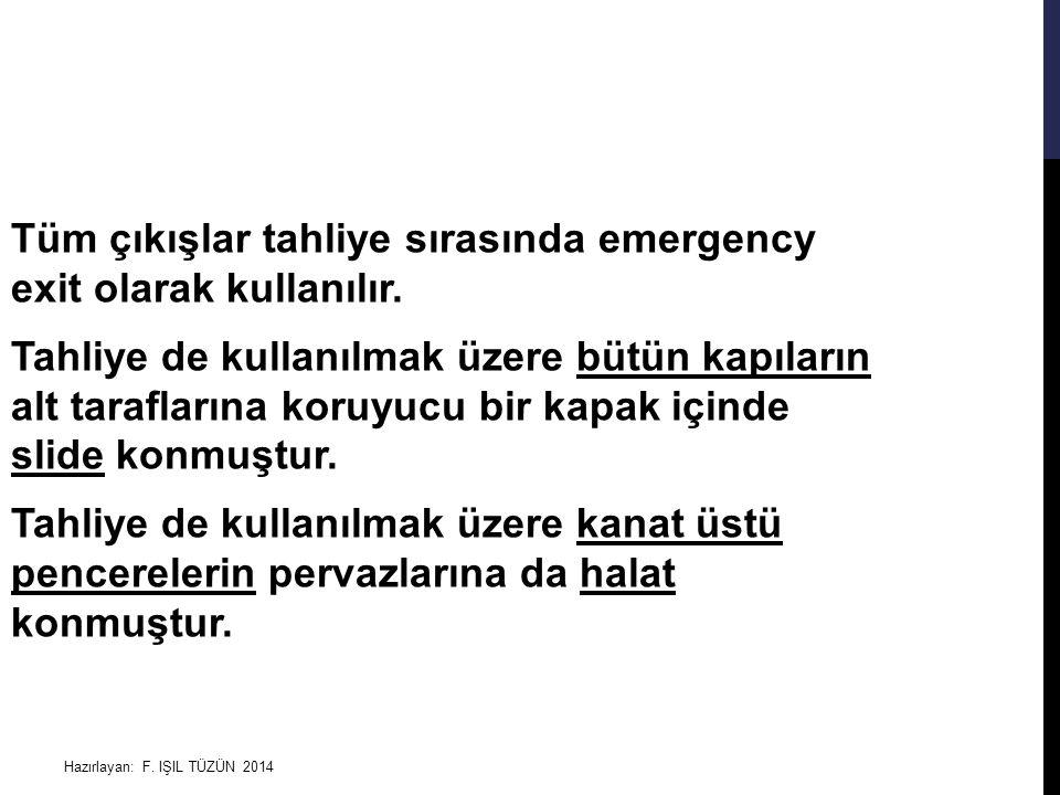 Tüm çıkışlar tahliye sırasında emergency exit olarak kullanılır