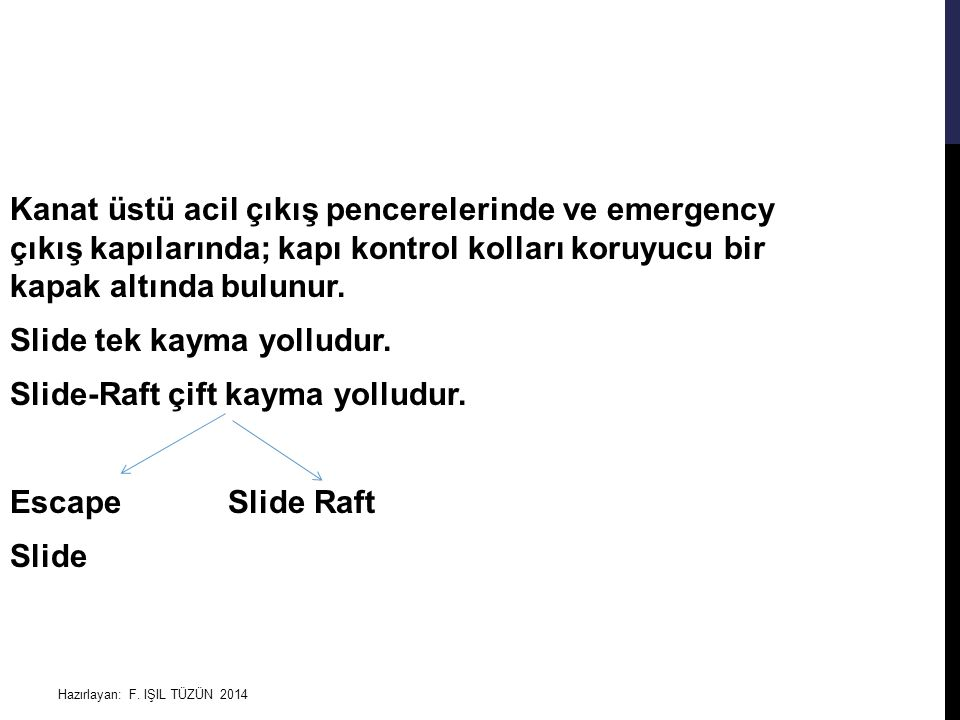 Kanat üstü acil çıkış pencerelerinde ve emergency çıkış kapılarında; kapı kontrol kolları koruyucu bir kapak altında bulunur. Slide tek kayma yolludur. Slide-Raft çift kayma yolludur. Escape Slide Raft Slide