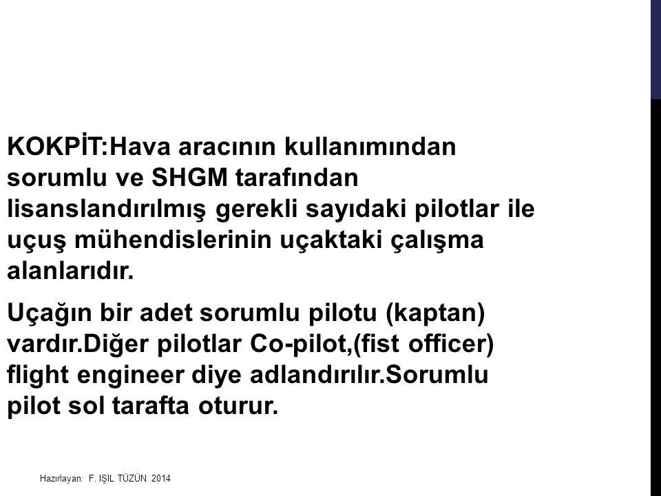 KOKPİT:Hava aracının kullanımından sorumlu ve SHGM tarafından lisanslandırılmış gerekli sayıdaki pilotlar ile uçuş mühendislerinin uçaktaki çalışma alanlarıdır. Uçağın bir adet sorumlu pilotu (kaptan) vardır.Diğer pilotlar Co-pilot,(fist officer) flight engineer diye adlandırılır.Sorumlu pilot sol tarafta oturur.