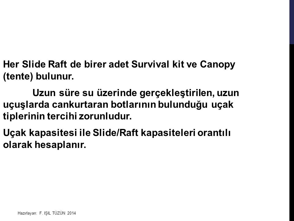Her Slide Raft de birer adet Survival kit ve Canopy (tente) bulunur
