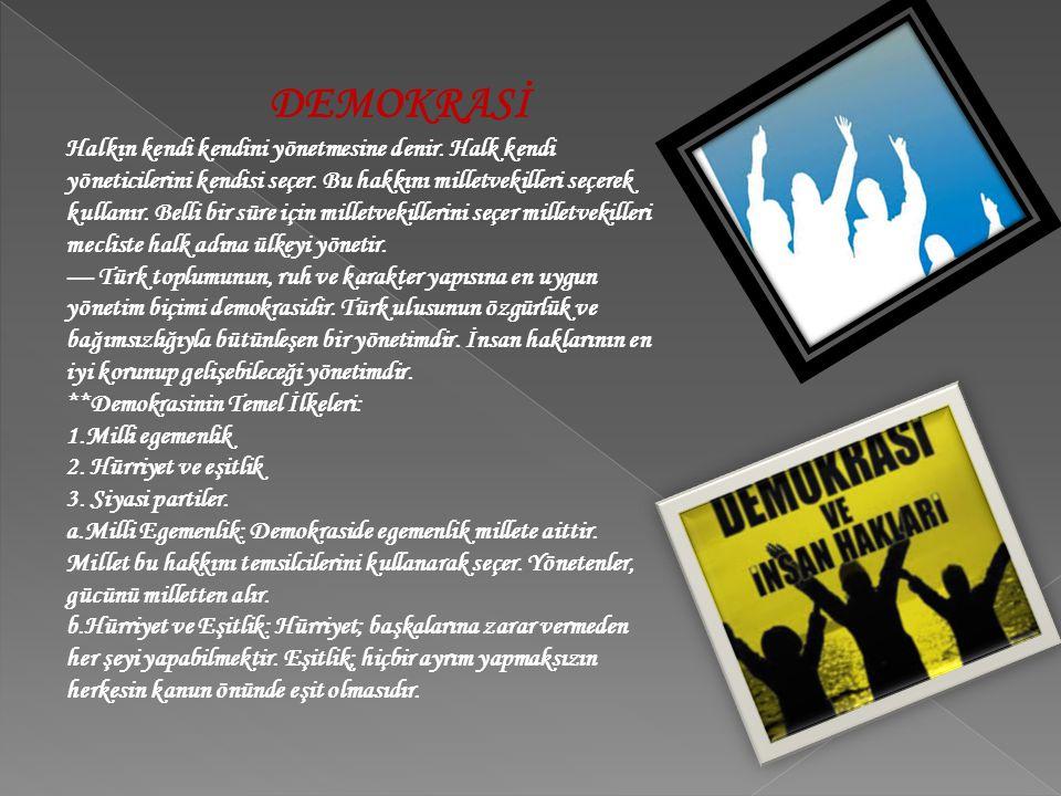 **Demokrasinin Temel İlkeleri: 1.Milli egemenlik