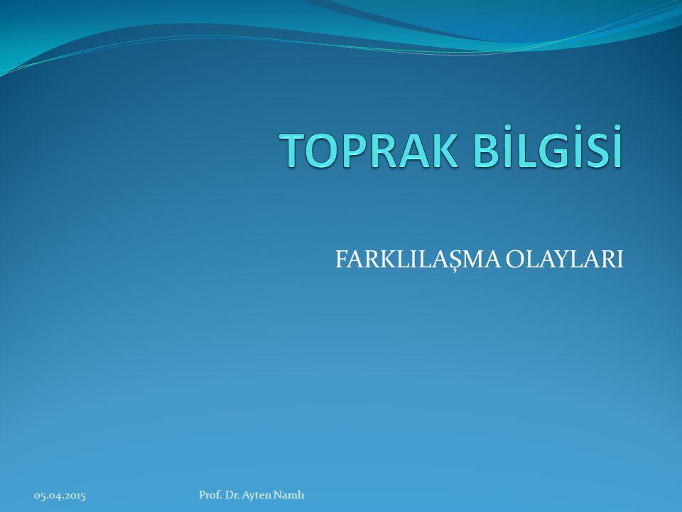 TOPRAK BİLGİSİ FARKLILAŞMA OLAYLARI 09.04.2017 Prof. Dr. Ayten Namlı