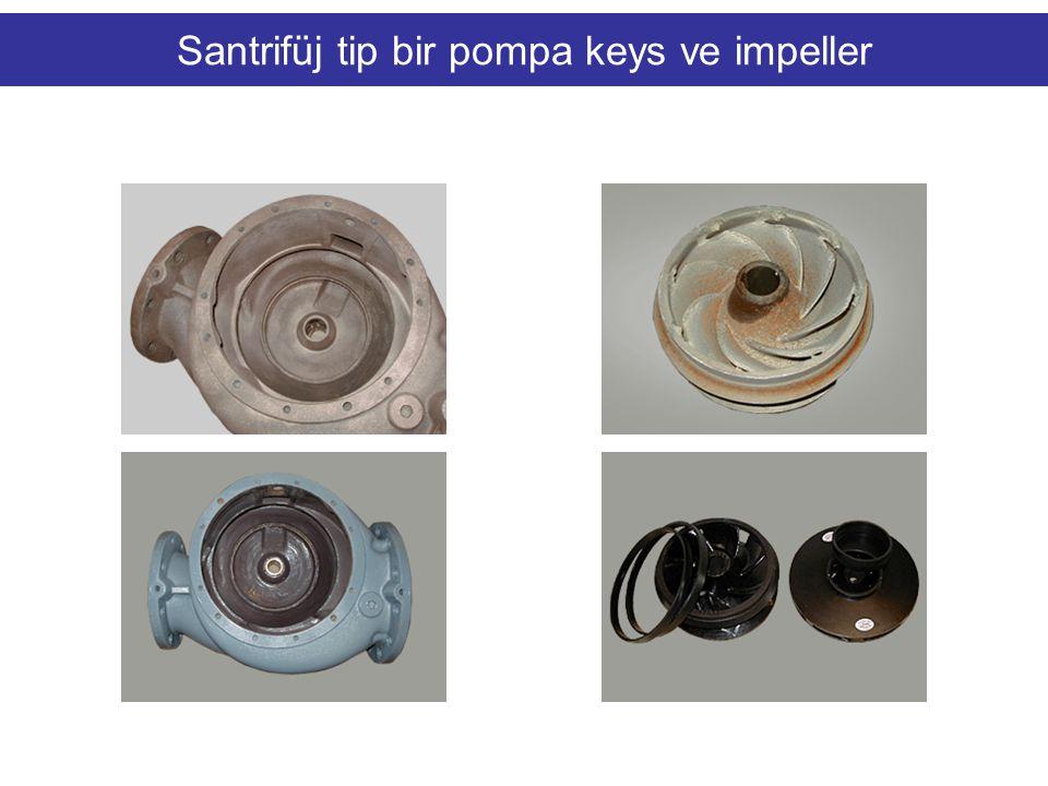 Santrifüj tip bir pompa keys ve impeller