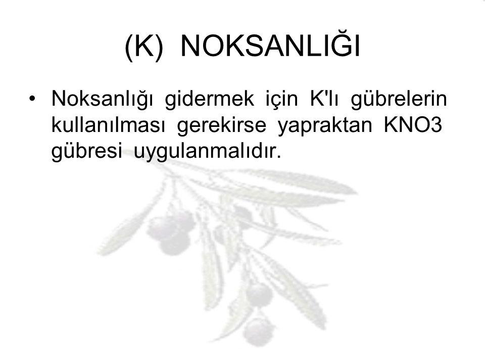 (K) NOKSANLIĞI Noksanlığı gidermek için K lı gübrelerin kullanılması gerekirse yapraktan KNO3 gübresi uygulanmalıdır.