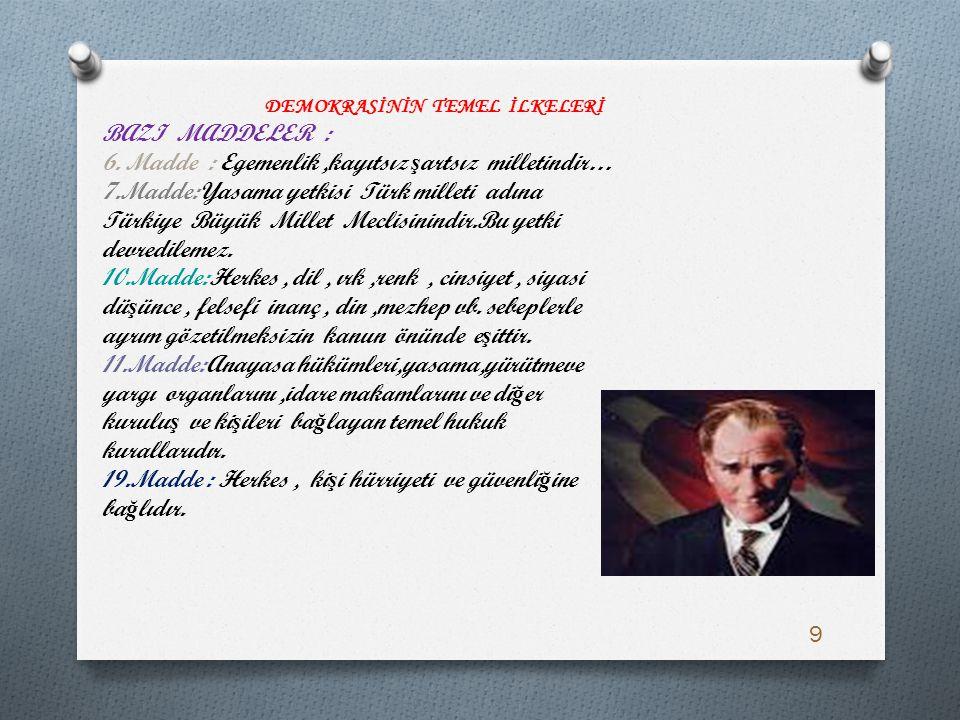 6. Madde : Egemenlik ,kayıtsız şartsız milletindir…