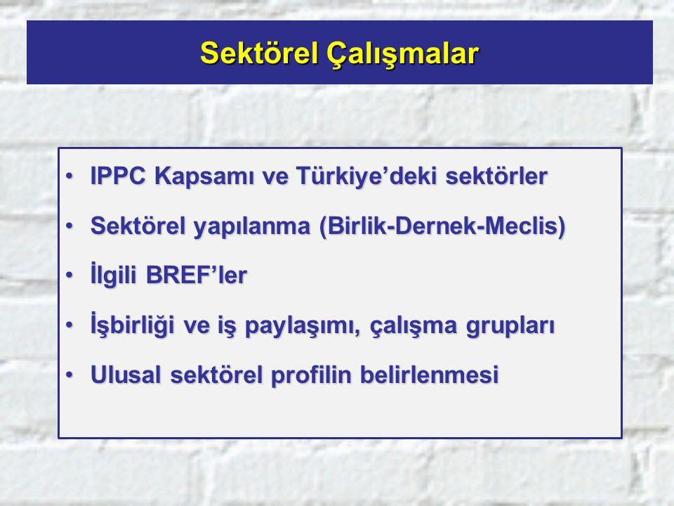 Sektörel Çalışmalar IPPC Kapsamı ve Türkiye'deki sektörler