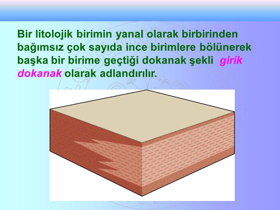 Bir litolojik birimin yanal olarak birbirinden bağımsız çok sayıda ince birimlere bölünerek başka bir birime geçtiği dokanak şekli girik dokanak olarak adlandırılır.