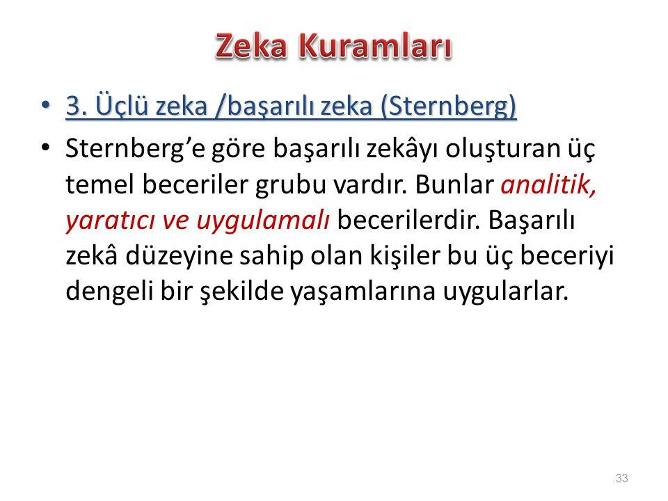 Zeka Kuramları 3. Üçlü zeka /başarılı zeka (Sternberg)