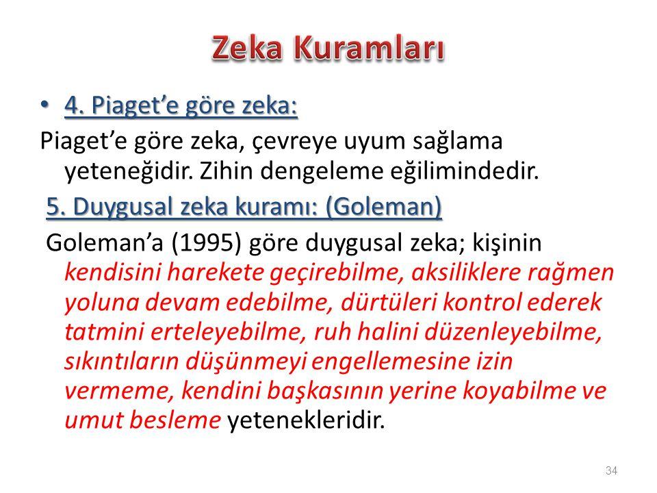 Zeka Kuramları 4. Piaget'e göre zeka:
