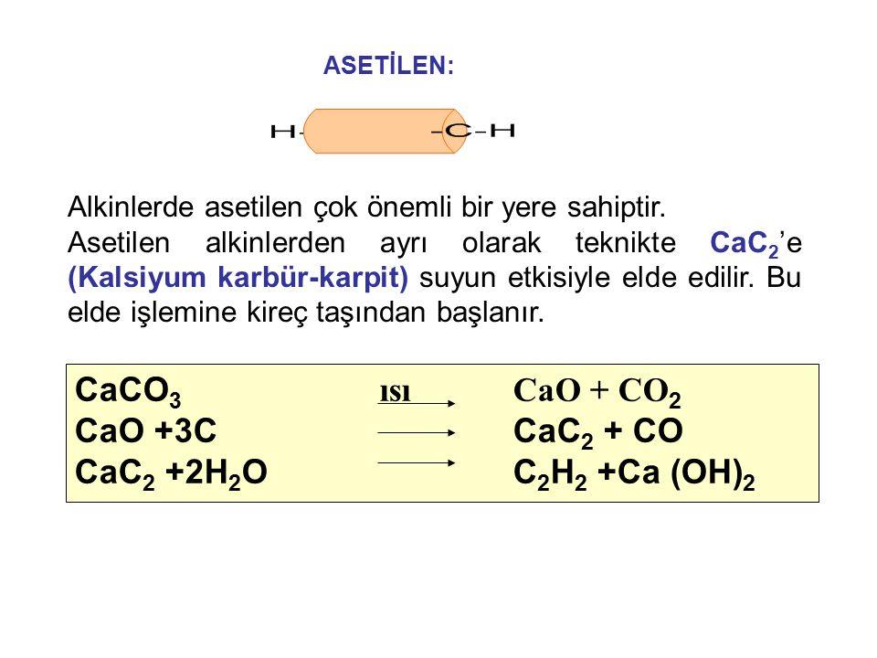 CaCO3 ısı CaO + CO2 CaO +3C CaC2 + CO CaC2 +2H2O C2H2 +Ca (OH)2