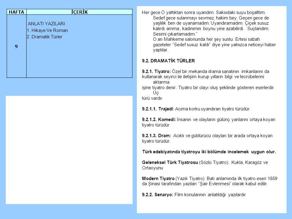 HAFTA İÇERİK. 9. ANLATI YAZILARI. 1. Hikaye Ve Roman. 2. Dramatik Türler.