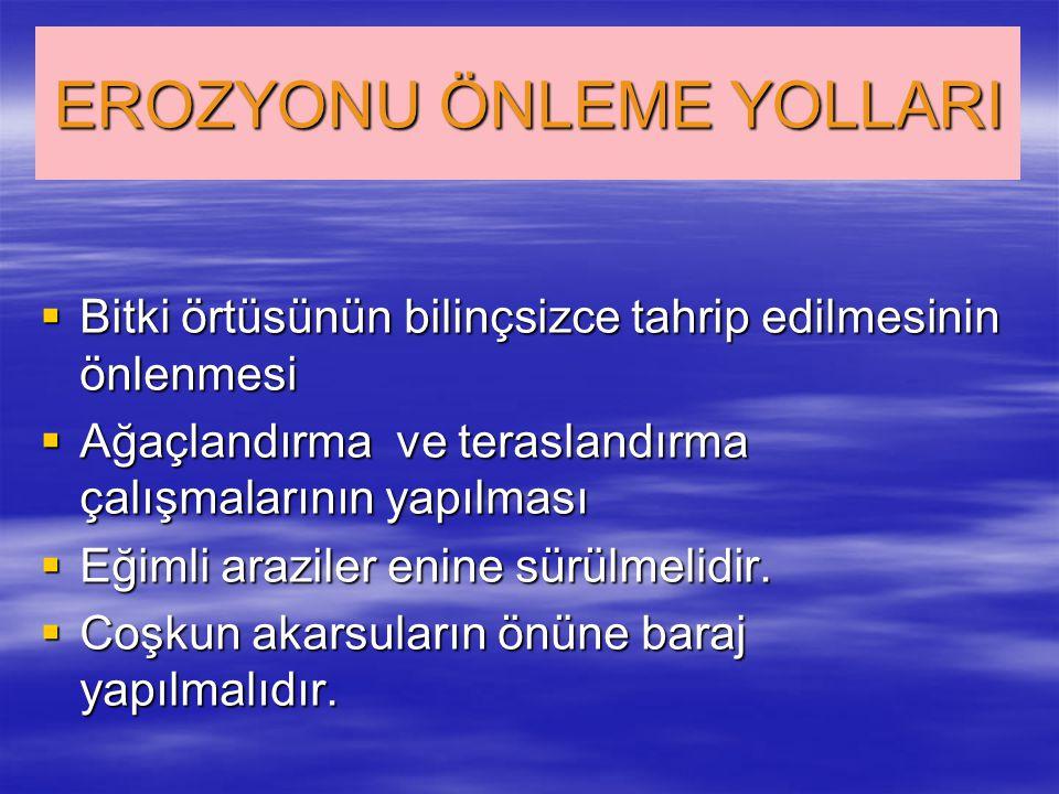 EROZYONU ÖNLEME YOLLARI