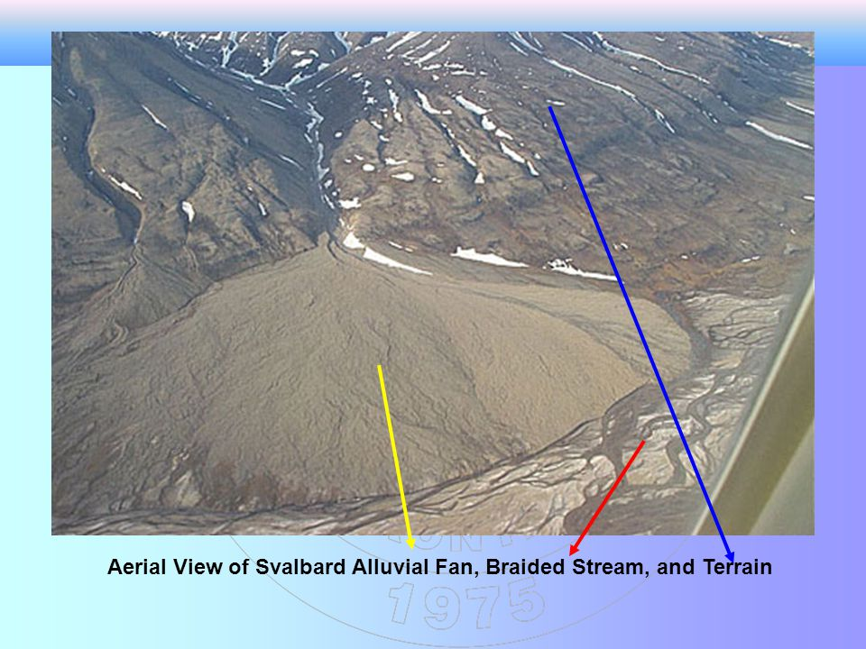 Aerial View of Svalbard Alluvial Fan, Braided Stream, and Terrain