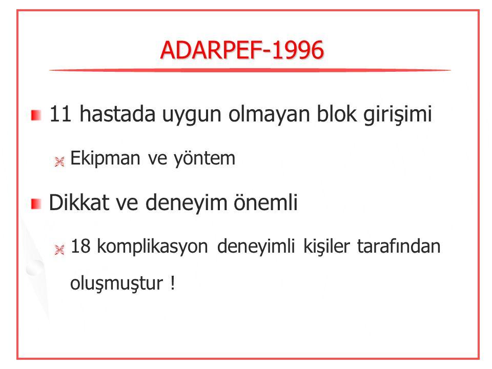 ADARPEF-1996 11 hastada uygun olmayan blok girişimi
