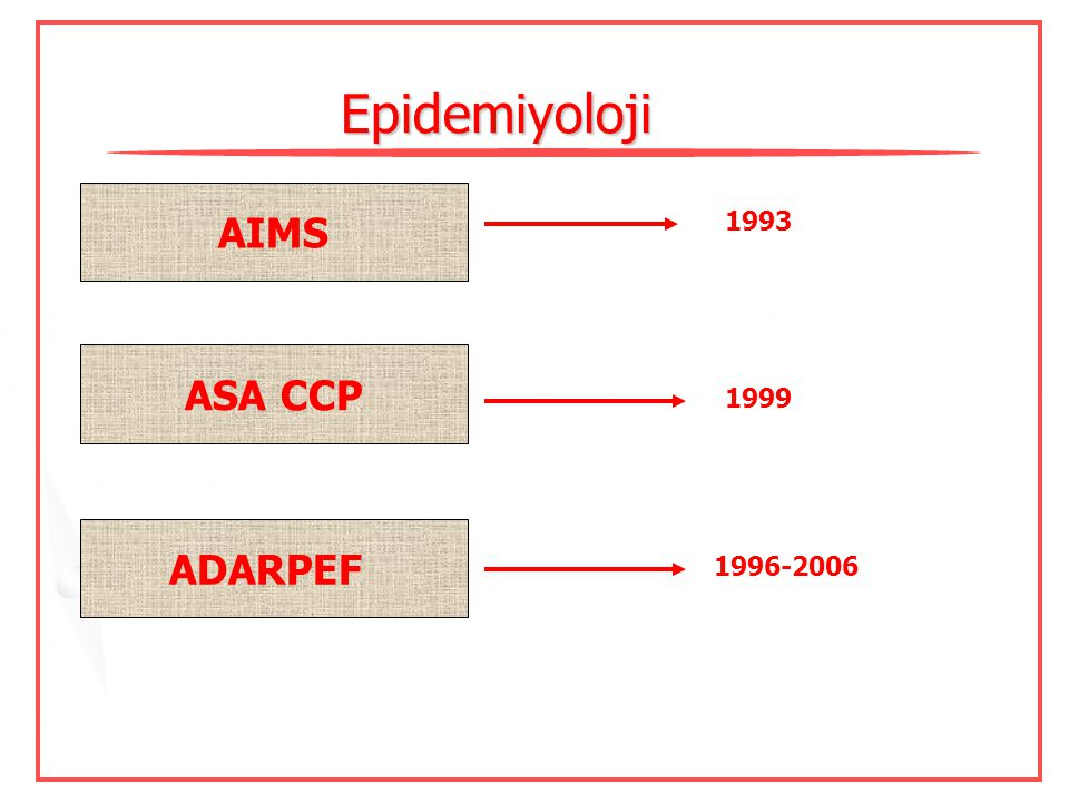 Epidemiyoloji AIMS ASA CCP ADARPEF 1993 1999 1996-2006