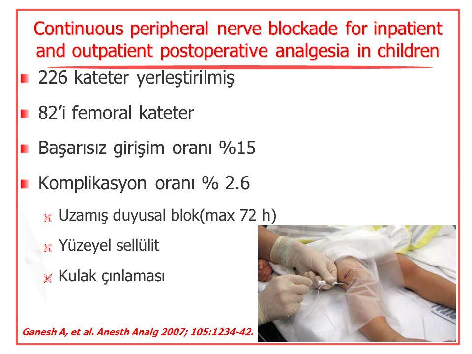 226 kateter yerleştirilmiş 82'i femoral kateter