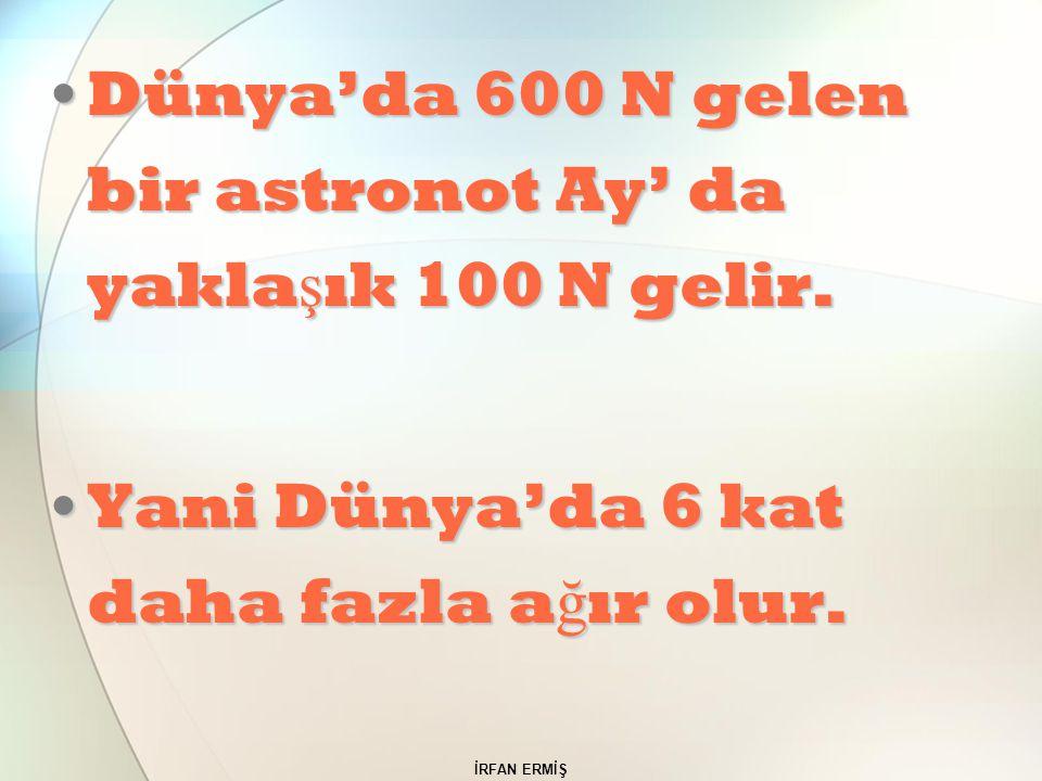 Dünya'da 600 N gelen bir astronot Ay' da yaklaşık 100 N gelir.