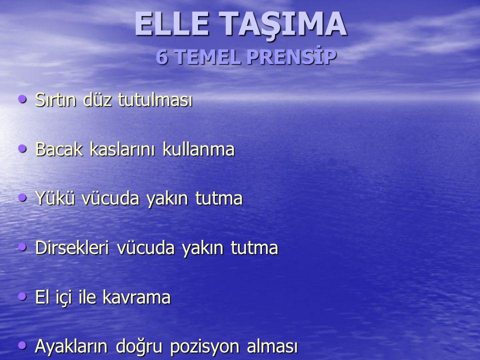 ELLE TAŞIMA 6 TEMEL PRENSİP Sırtın düz tutulması