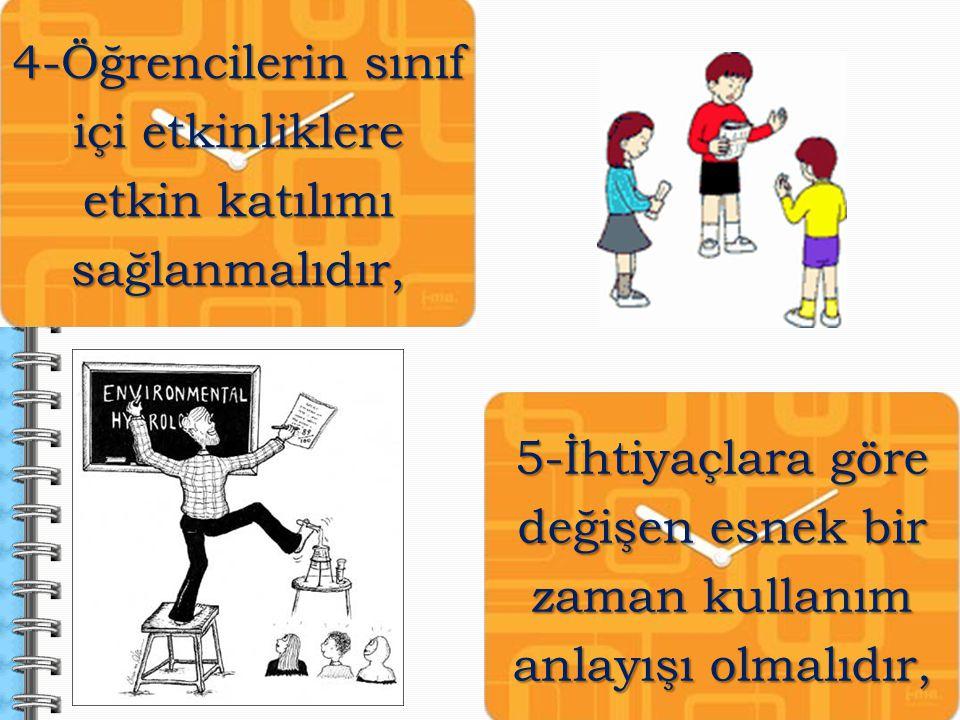 4-Öğrencilerin sınıf içi etkinliklere etkin katılımı sağlanmalıdır,
