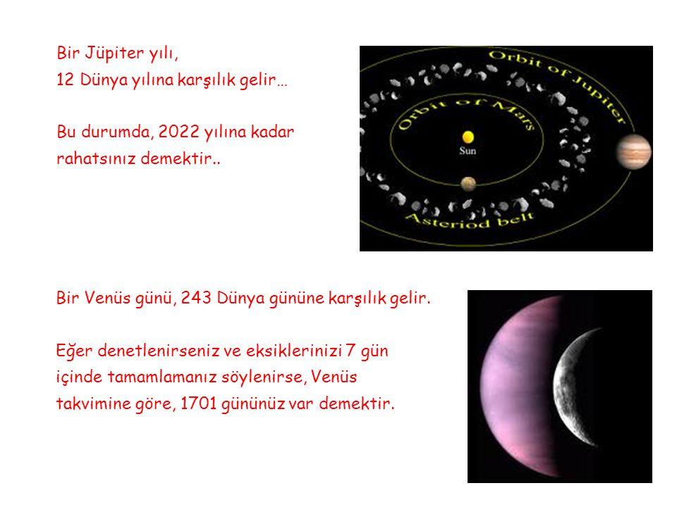 Bir Jüpiter yılı, 12 Dünya yılına karşılık gelir… Bu durumda, 2022 yılına kadar rahatsınız demektir..