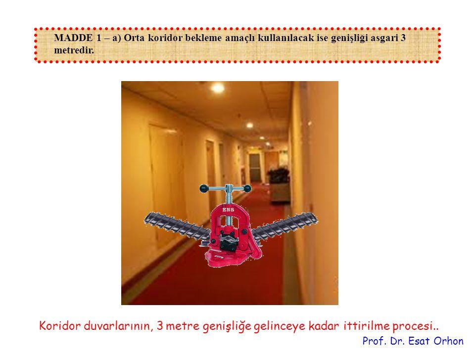 MADDE 1 – a) Orta koridor bekleme amaçlı kullanılacak ise genişliği asgari 3 metredir.