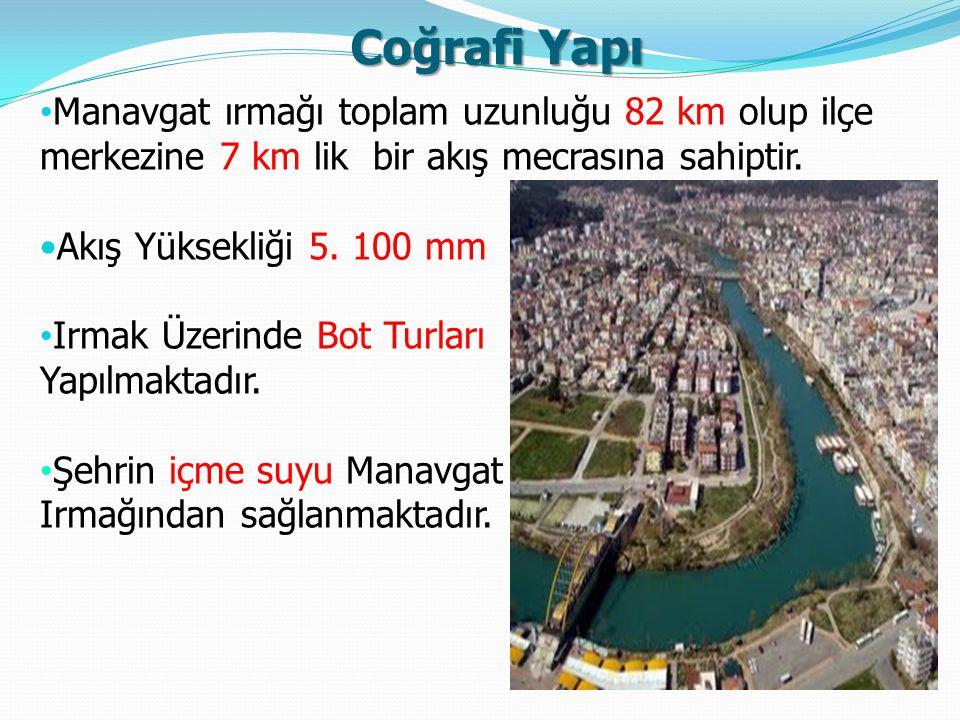 Coğrafi Yapı Manavgat ırmağı toplam uzunluğu 82 km olup ilçe merkezine 7 km lik bir akış mecrasına sahiptir.