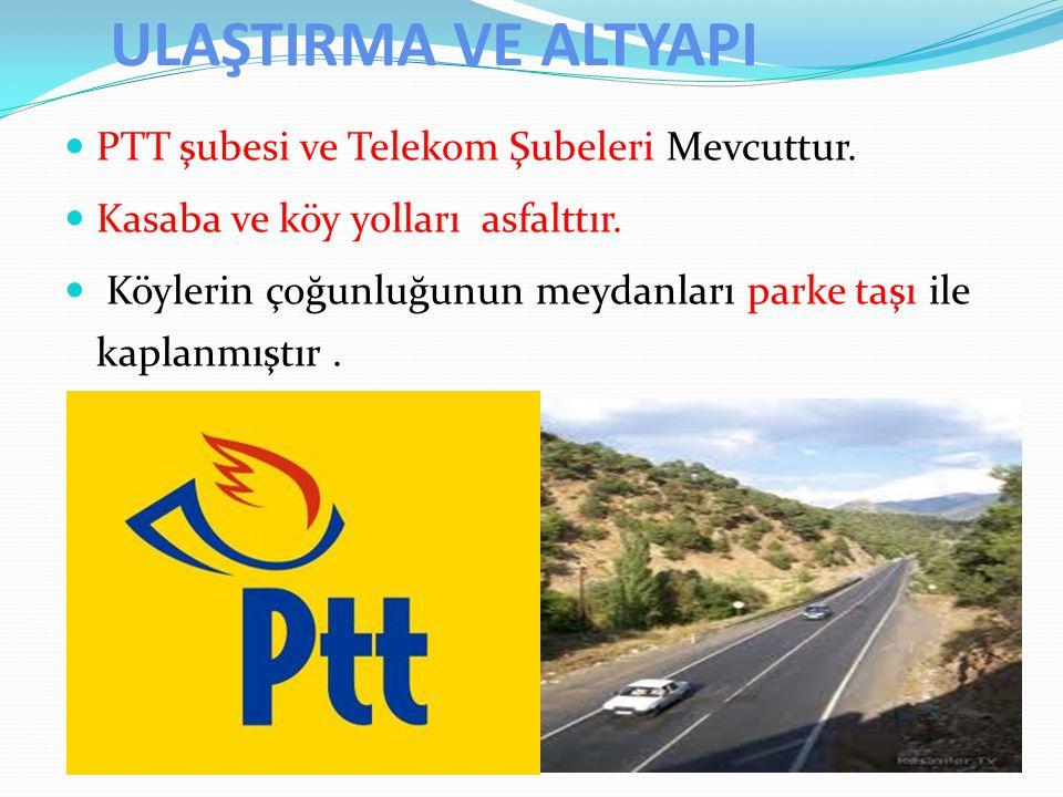 ULAŞTIRMA VE ALTYAPI PTT şubesi ve Telekom Şubeleri Mevcuttur.