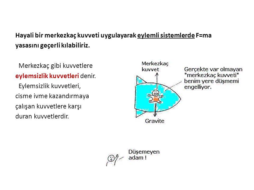 Hayali bir merkezkaç kuvveti uygulayarak eylemli sistemlerde F=ma