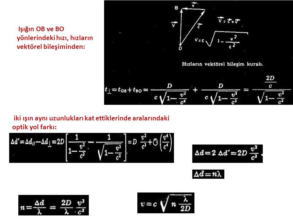 Işığın OB ve BO yönlerindeki hızı, hızların vektörel bileşiminden: