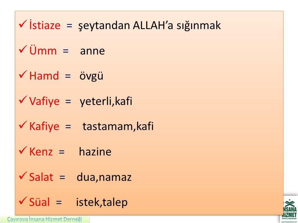 İstiaze = şeytandan ALLAH'a sığınmak