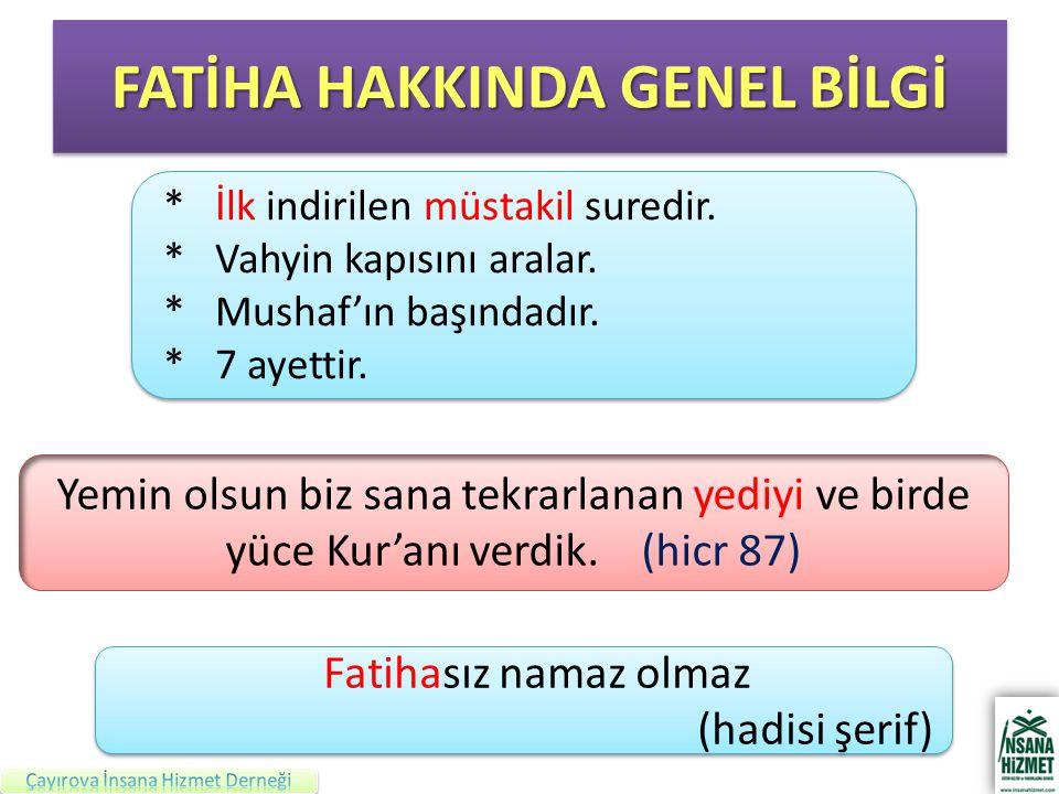 FATİHA HAKKINDA GENEL BİLGİ