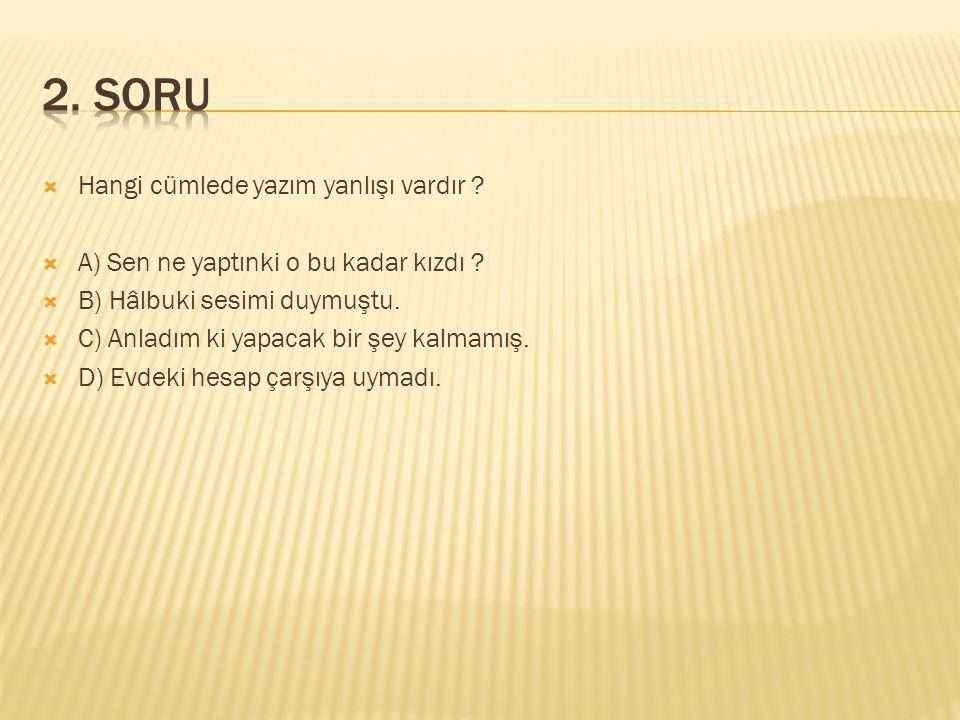 2. SORU Hangi cümlede yazım yanlışı vardır