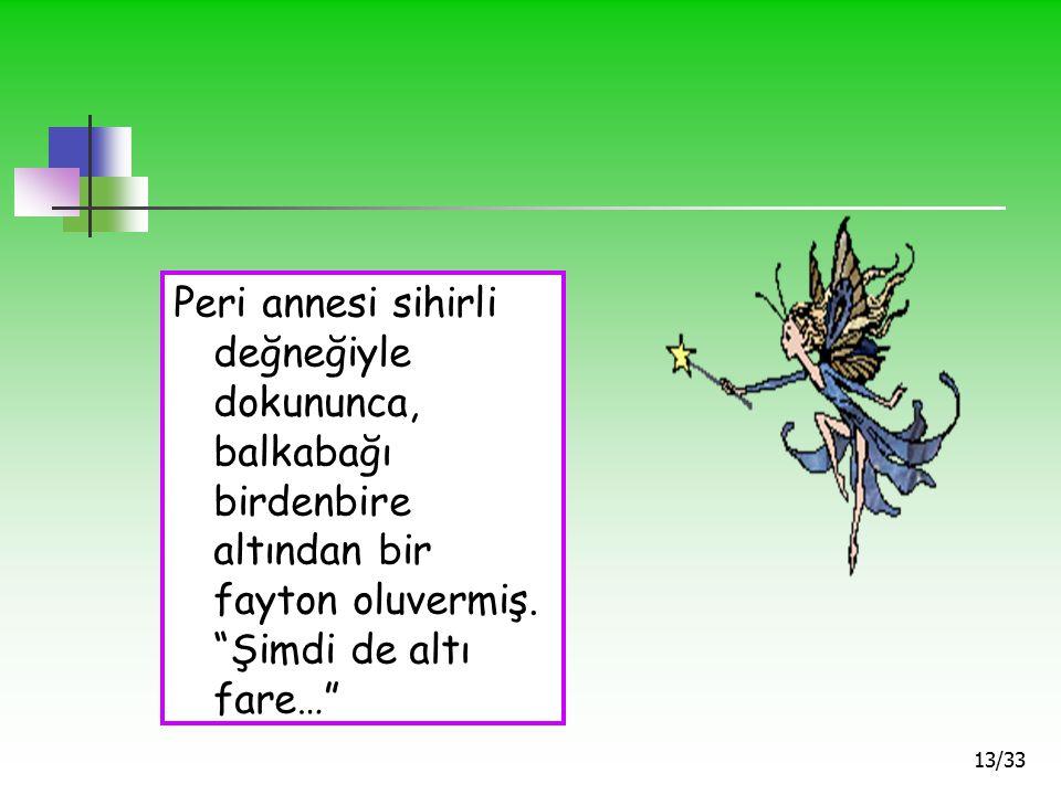 Peri annesi sihirli değneğiyle dokununca, balkabağı birdenbire altından bir fayton oluvermiş.