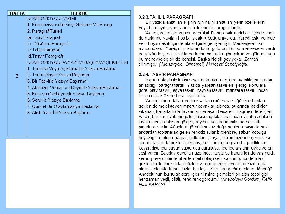 3.2.3.TAHLİL PARAGRAFI