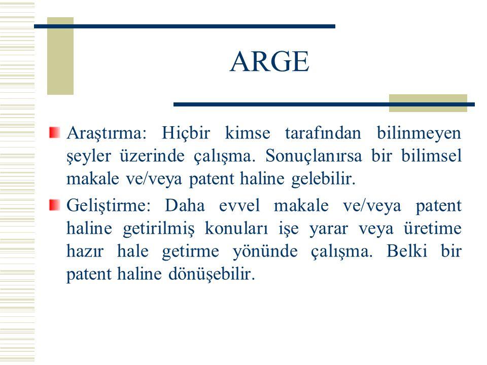 ARGE Araştırma: Hiçbir kimse tarafından bilinmeyen şeyler üzerinde çalışma. Sonuçlanırsa bir bilimsel makale ve/veya patent haline gelebilir.