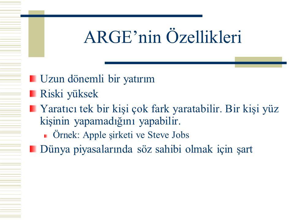 ARGE'nin Özellikleri Uzun dönemli bir yatırım Riski yüksek