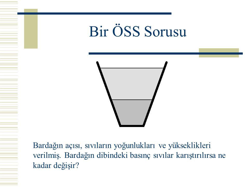 Bir ÖSS Sorusu Bardağın açısı, sıvıların yoğunlukları ve yükseklikleri verilmiş.