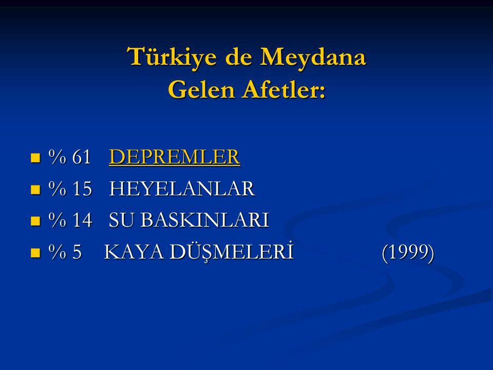 Türkiye de Meydana Gelen Afetler: