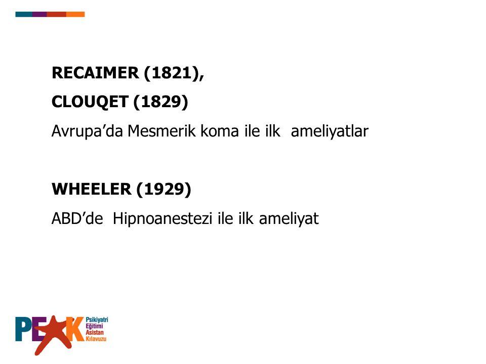 RECAIMER (1821), CLOUQET (1829) Avrupa'da Mesmerik koma ile ilk ameliyatlar.
