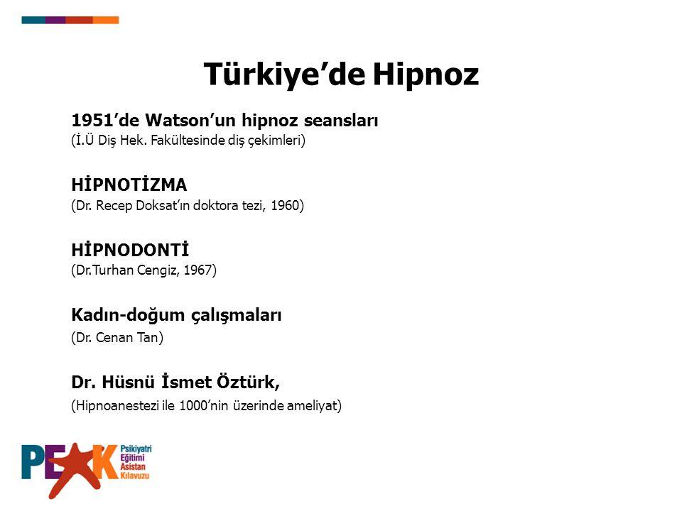 Türkiye'de Hipnoz 1951'de Watson'un hipnoz seansları HİPNOTİZMA