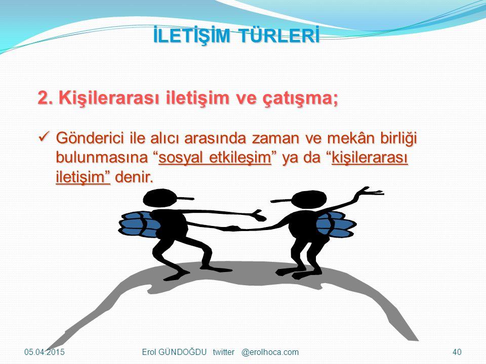 2. Kişilerarası iletişim ve çatışma;