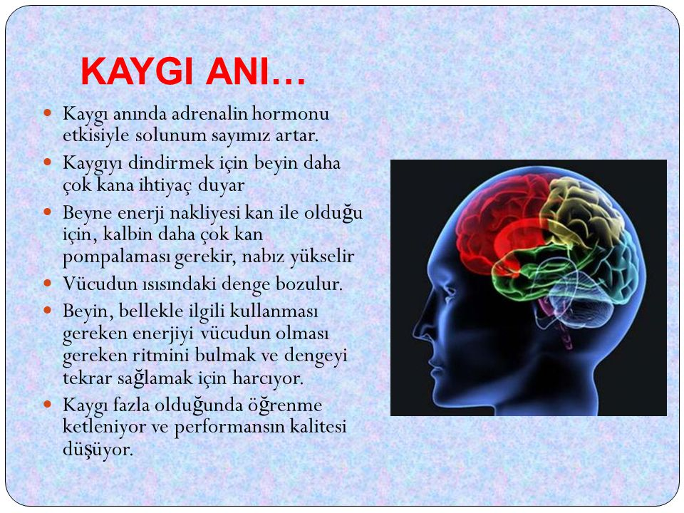KAYGI ANI… Kaygı anında adrenalin hormonu etkisiyle solunum sayımız artar. Kaygıyı dindirmek için beyin daha çok kana ihtiyaç duyar.
