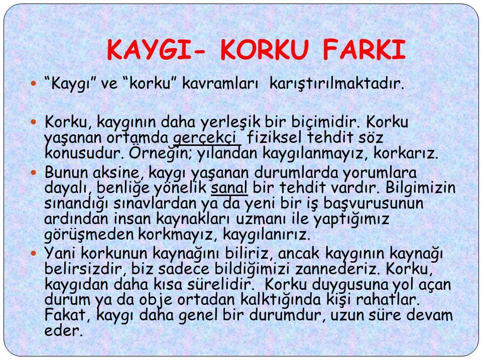 KAYGI- KORKU FARKI Kaygı ve korku kavramları karıştırılmaktadır.