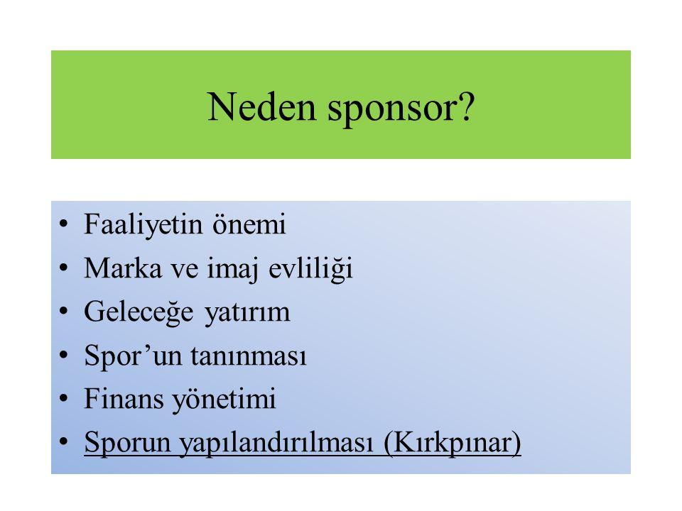 Neden sponsor Faaliyetin önemi Marka ve imaj evliliği
