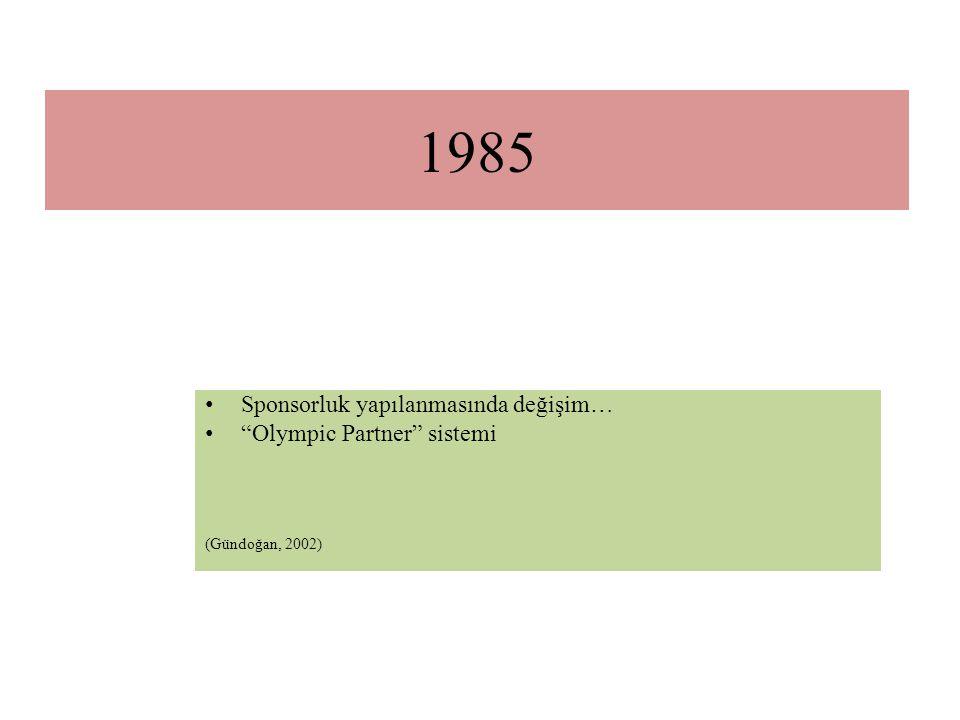 1985 Sponsorluk yapılanmasında değişim… Olympic Partner sistemi