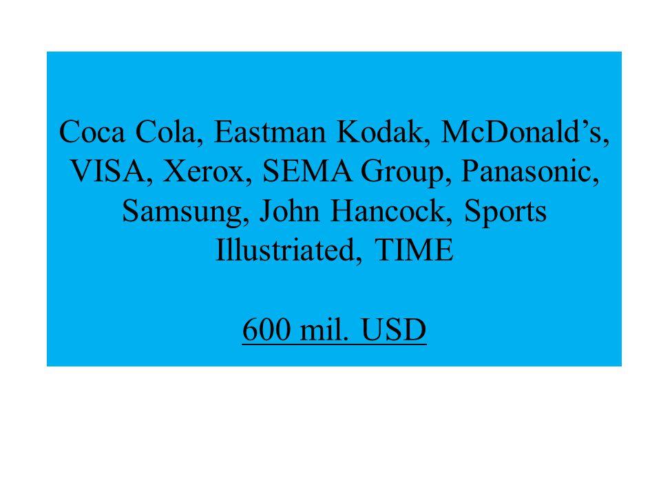 Coca Cola, Eastman Kodak, McDonald's, VISA, Xerox, SEMA Group, Panasonic, Samsung, John Hancock, Sports Illustriated, TIME 600 mil.