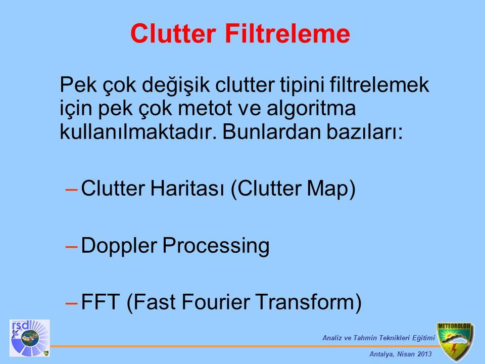 Clutter Filtreleme Pek çok değişik clutter tipini filtrelemek için pek çok metot ve algoritma kullanılmaktadır. Bunlardan bazıları: