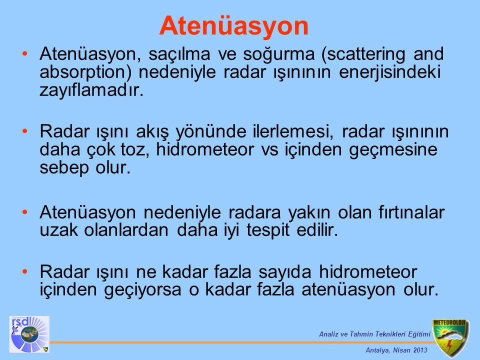 Atenüasyon Atenüasyon, saçılma ve soğurma (scattering and absorption) nedeniyle radar ışınının enerjisindeki zayıflamadır.