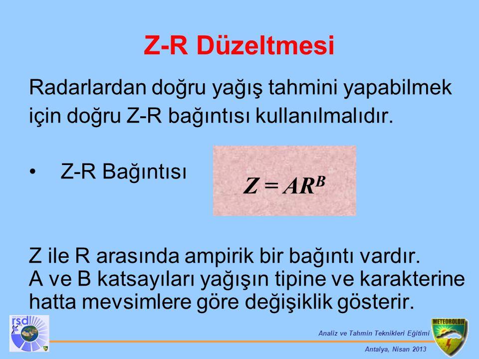 Z-R Düzeltmesi Z = ARB Radarlardan doğru yağış tahmini yapabilmek